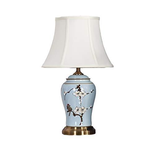 Lampe de table en céramique abat-jour en tissu de lampe de chevet européenne pastorale