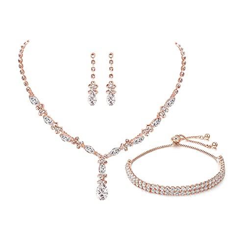 UDYLGOON Collar de cristal para mujer, pendientes, pulsera y conjunto de joyas para dama de honor, boda, baile de graduación