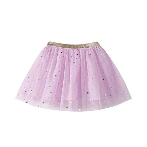 Babybekleidung Mädchen, Röcke Sternchen Glitzer Tüll Tutu Ballettröckchen A-Linie Mini Prinzessin Kurzer Rock (Violett, 140)