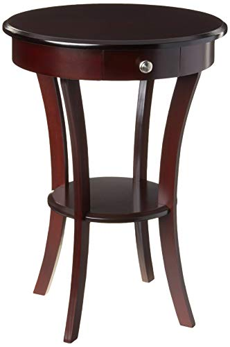 Frenchi Furniture Wood Round Table with Drawer and Shelf ,Espresso