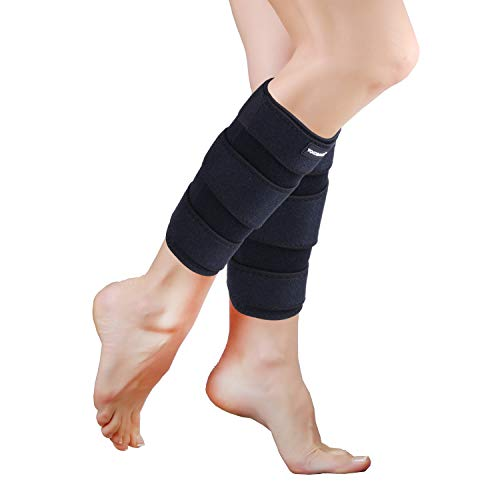 YOWBAND Adjustable Calf Compression Brace(2 Pack) - Shin Splint Support - Lower Leg Wrap Reduces Muscle Swelling, Pain Relief Strain Sprain - Calf Sleeve for Men and Women