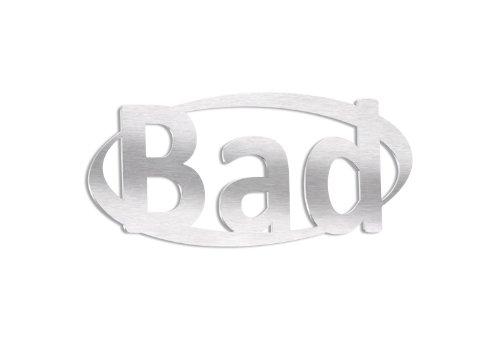 ohnmacht.design Badezimmerschild, Bad Schild, WC-Schild aus gebürstetem Edelstahl
