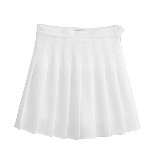 Tinksky Damen Minirock High Taille Faltenrock Schuluniform Größe M (Weiß)