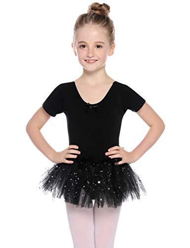 Hawiton Mädchen Ballettkleidung Ballettkleid Kinder Kurzarm Ballettanzug Rundem Ausschnitt Gymnastik Funkeln Tanz-Body mit Rock Tütü