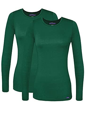 SIVVAN Scrubs for Women - Long Sleeve Comfort Underscrub Tee 2-Pack - S85002 - Hunter Green - XL