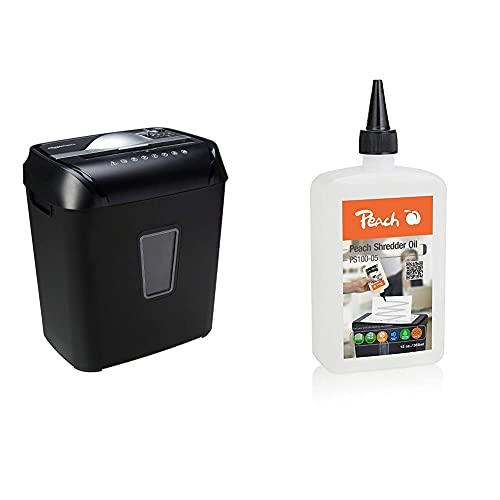 Amazon Basics – Kreuzschnitt-Schredder für 10-12 Blätter, für Papier und Kreditkarten & Peach Aktenvernichter-Öl PS100-05 |Inhalt 355 ml | die Pflege für Ihren Aktenvernichter