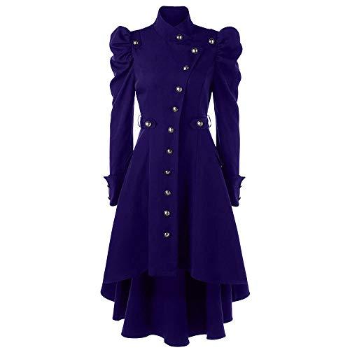 Damen Vintage Steampunk Long Coat Gothic Mantel Damen Retro Jacke Blazer Damenjacke Admiral Jacke Military Army Lang Coat lang Slim Fit fit Militär Elegant Sakkos mit Knopfleiste Mantel(Blau.M)
