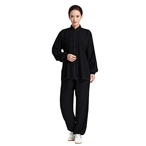 Unisex Adult Tai Chi Uniform Chinese Traditional Martial Arts Kung Fu Suit Cotton Linen Long Sleeve Tang Suit (Black, M)