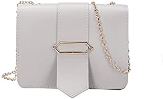 YXHM AU Bag Female New Simple Small Square Bag Belt Buckle Messenger Bag Wild Chain Shoulder Bag (Color : Grey)