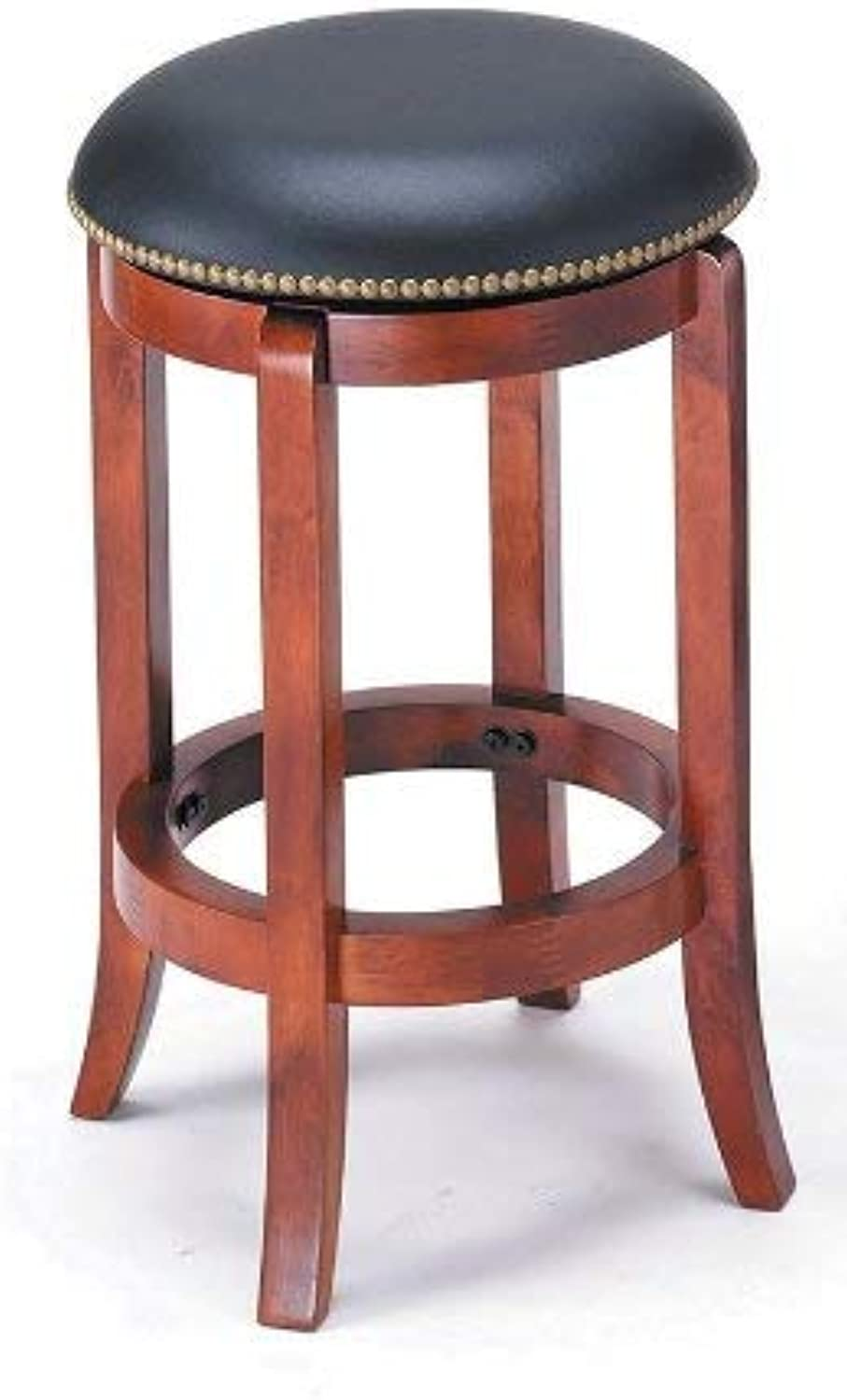 ADF 24-Inch Swivel Bar Stool with Nailhead Trim, Cherry