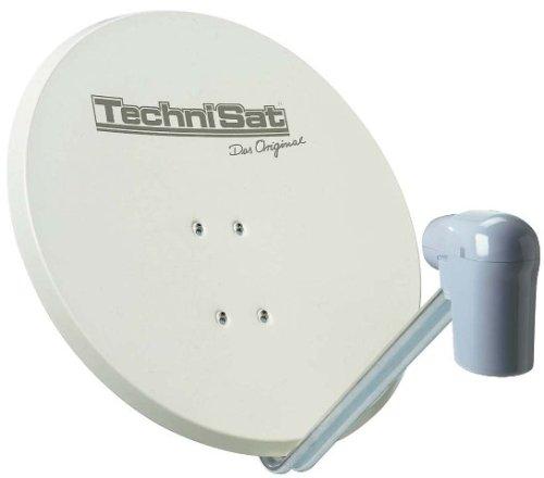 TechniSat SATMAN 650 PLUS Satellitenschüssel, 65 cm Sat-Anlage mit Masthalterung und Universal V/H Single-LNB (Ein Teilnehmer) beige