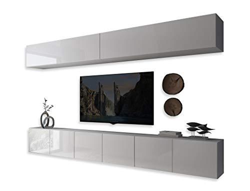 COLGANTE II Wohnwand Lowboard Wohnwand Set TV-Schrank Hängeschrank Weiß Hochglanz HG Fernsehschrank mit LED Beleuchtung und Push to Open System Sideboard Lowboard Wohnzimmer