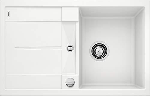 BLANCO METRA 45 S - Rechteckige Granitspüle für die Küche - für 45 cm breite Unterschränke - Mit integrierter Abtropffläche - aus SILGRANIT - weiß - 513028