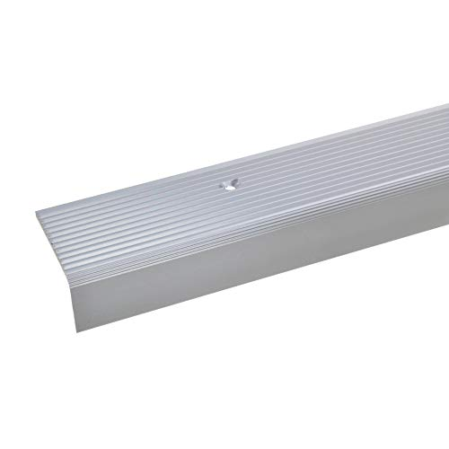 acerto 33417 Aluminium Treppenwinkel-Profil - 100cm, 23x40mm, silber * Rutschhemmend * Robust * Leichte Montage | Treppenkanten-Profil, Treppenstufen-Profil aus Alu | Gelochtes Stufenkanten-Profil,