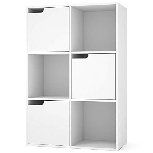 Homfa Meuble de Rangement Bibliothèque Etagère en Bois Casiers avec Portes pour pour Salon Chambre Bureau Blanc (6 Cubes 3 Portes)