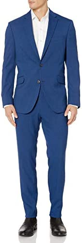 Kenneth Cole REACTION Men s Slim Fit Stretch Performance 32 Finished Bottom Suit Blue 44 S S product image