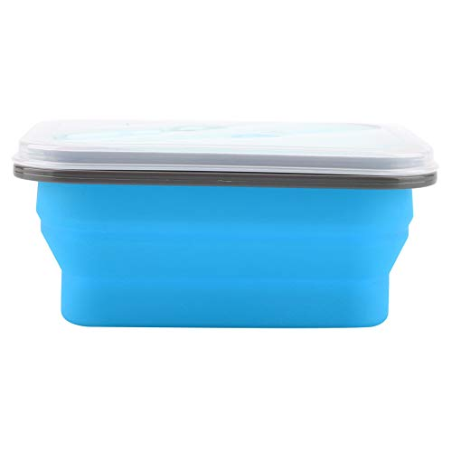 SZHWLKJ Silicone Collapsible Portable Lunch Box Bowl Folding Food Storage Container Blue 600ml