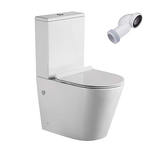 Wc Inodoro Completo Redondo | Inodoro Tanque Bajo con Cisterna y Asiento Extrafino | Adosado a Pared con Salida Dual y Sistema Rimless