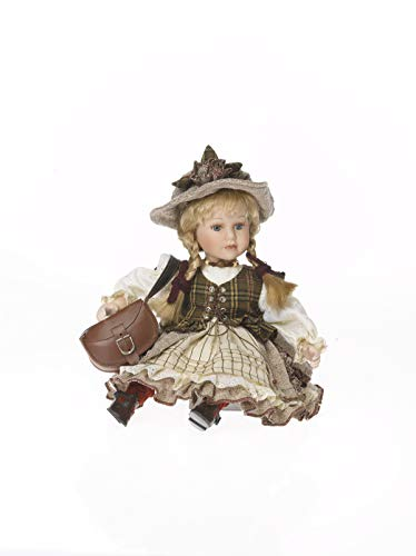 Sammlerpuppe, Künstlerpuppe, Porzellanpuppe, Trachtenpuppe Mädchen sitzend 32cm