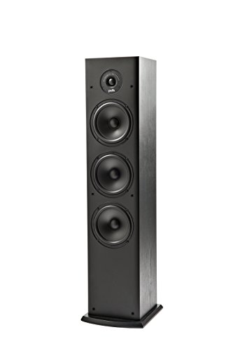 Polk Audio T50 150 Watt Home Theater Floor Standing Tower Speaker (Single, Black) - Hi-Res Audio with Deep Bass Response | Dolby and DTS Surround, 9.25 x 8.75 x 36.5 Inches