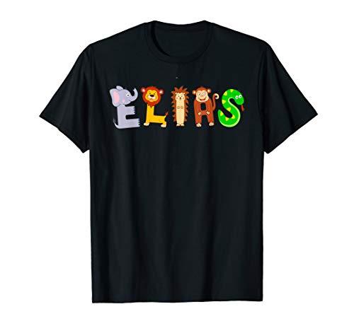 Elias TShirt mit lustigen Tier-Buchstaben Jungen Name T-Shirt