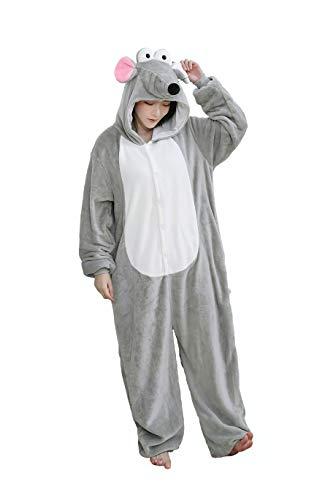 HuaiLian - Disfraz de ratón para mujer, unisex, para Halloween Gris gris L/altura 171/180 cm