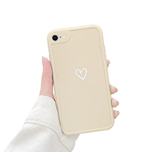 Newseego Morbido TPU Custodia Compatibile per iPhone 7 8 Se, Carino Heart iPhone 7 8 Se Cover Case per Cellulare per Ragazze Protettivo Custodia in Antiurto Sottile iPhone 7 8 Se-Bianca