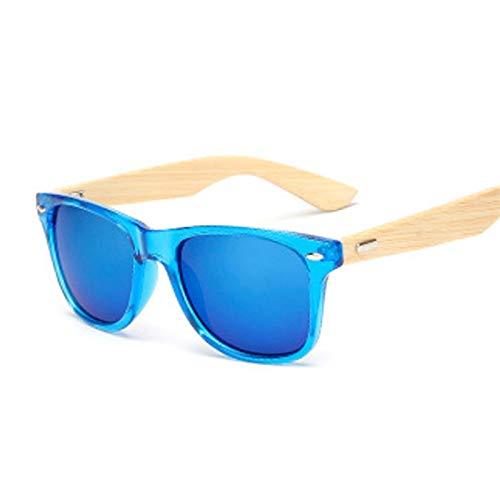 QSLS 1 pc Hombres Cuadrados Gafas de Sol Viajes al Aire Libre Gafas de Sol Vintage Pierna de Madera Pierna Hombre Mujer Moda Gafas Mujeres (Lenses Color : Blue)