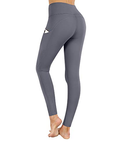 PHISOCKAT High Waist Yoga Pants with Pockets, Tummy Control Yoga Pants for Women, Workout 4 Way Stretch Yoga Leggings (Gray, Large)