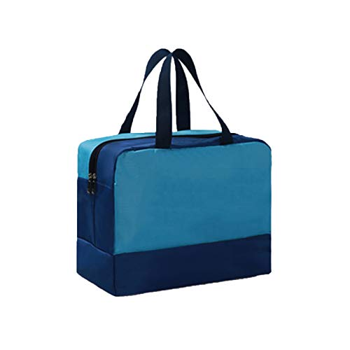 JSJE Swimming Storage Bag,Travel Clothing Shoe Organizer Storage Bags,Portable Sports Beach Fitness Waterproof Dry Wet Separation Cation Package 36x18x28cm blue