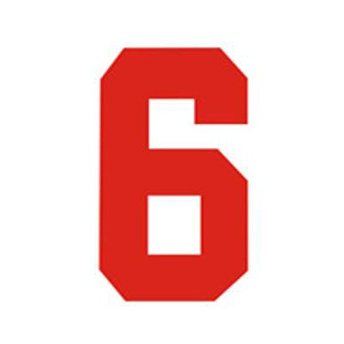 Zahlen Bügelbild für Fußball Baseball Trikot Sport T-Shirt Solid Schriftart Rot, Zahl-6, L(9