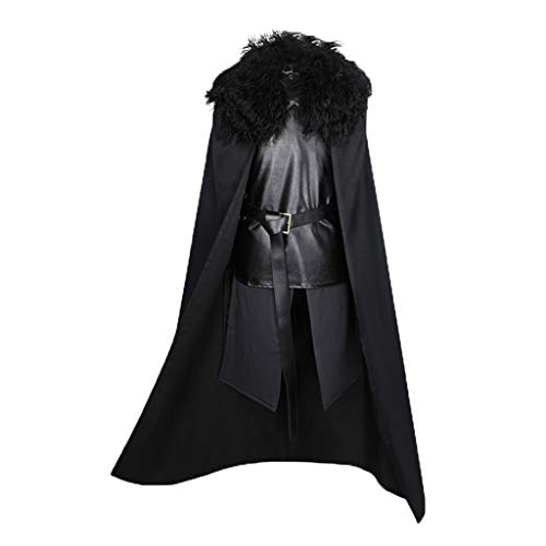 Cuteelf Steampunk Herren Gothic Mittelalter Robe Umhang Mantel Jacke Set Game of Thrones Jon Snow Cosplay Halloween Maskerade Party Kostüm Schal+Leder Oberteil+Rock+Gürtel