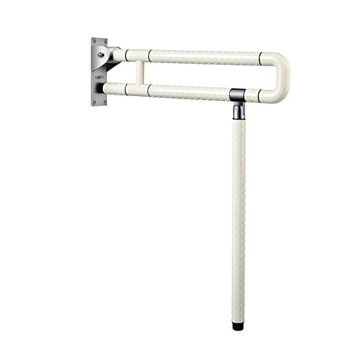 29.5 INCH Medical Safety Toilet Grab Bar Handicap Bathroom Seat Support Foldable Skid Resistance Toilet Bathroom Bar Bathroom Hand Grips for Disability Aid and Elderly Assistance White