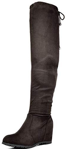 DREAM PAIRS Damen Overknees Stiefel mit Keilabsatz Wildleder Winterstiefel Leggy Braun Größe 7 M US / 38 EU