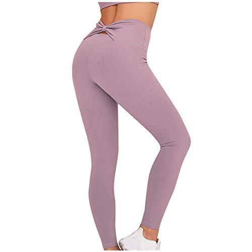 GPURE Mallas Pantalones Mujer Deportivos Leggings Sin Costuras Push Up Yoga Tipo Pantalón de Alta Cintura Elásticos y Transpirables Medias 5 Color Sólido para Pilates, Gimnasio Running Fitness
