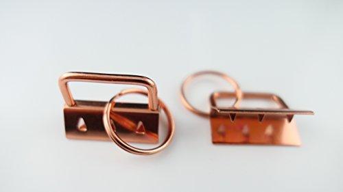 25 STK. Marwotec Schlüsselband Rohlinge Kupfer Klemmschließeanhänger mit Schlüsselring für ca. 30 mm breites Gurtband