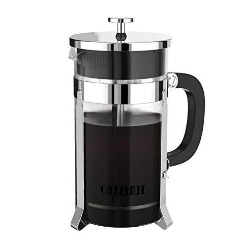 Cazzenie Prensa Francesa de Vidrio con acabado cromado para preparar café o tisana. Cafetera Francesa Bristol disponible en 350 ml (1 Taza) , 600 ml (2 Tazas) y 1 lt (3 Tazas)....