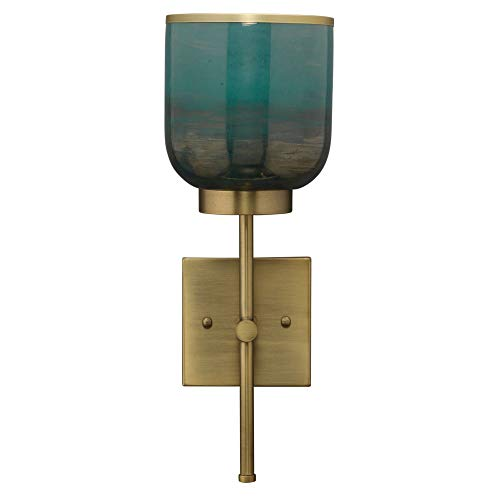 Jamie Young Company 15.75' Vapor Single Wall Sconce in Antique Brass and Aqua Metallic Glass