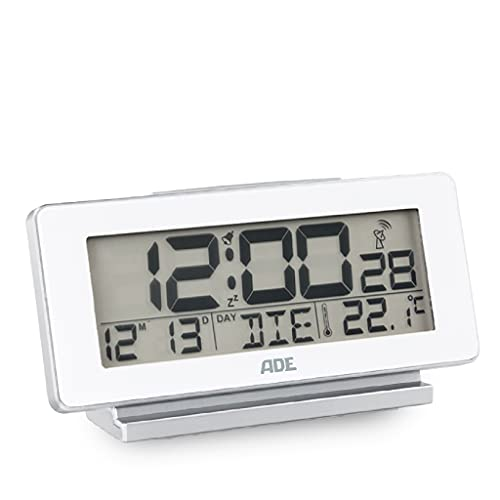 ADE CK1703-1 Funk digital, Funkuhr weiß, Tischuhr, Wecker batteriebetrieben, Display-Beleuchtung, Temperatur-Anzeige, Thermometer, Kalender mit Wochentag, Badezimmer-Uhr
