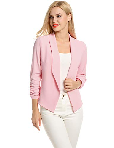 POGT Pink Blazer for Women,Boyfriend Blazers for Women Casual Plus Size (XL, Pink)