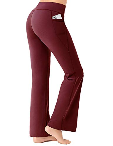 FIRST WAY Buttery Soft Women's Bootcut Yoga Pants Capris with 3 Pockets Lounge Bootleg Floral Printing Syrah L