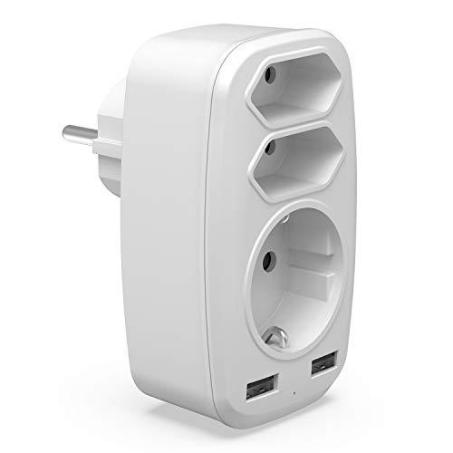 USB Steckdose Adapter, 5 in 1 Multi EU Steckdosenadapter mit 3 Fach Mehrfachsteckdose (4000W)-Doppel Eurostecker + 1 Schuko und 2 USB Anschluss (2.4A) für iPhone, iPad, Laptop, Weiß