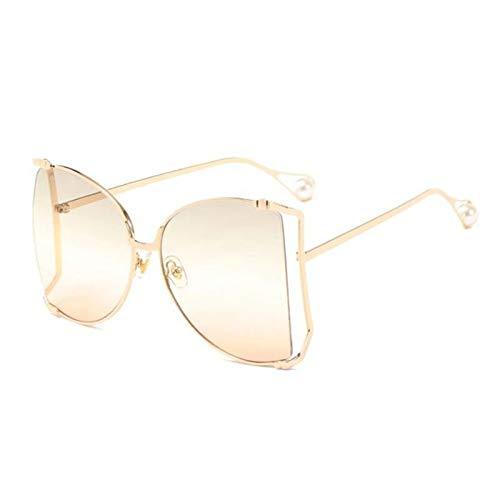 UKKD Moda De Gran Tamaño Gafas De Sol De Las Mujeres Gran Cuadrado Sol Gafas De Sol Decoración De La Perla Sombras De Ojo De Gato