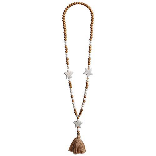 TININNA Collar Largo de Cuentas de Madera con Flecos Collares Mujer Plata Colgante Moda Simple Colgante de Concha Collar Mujer Joyería Creativo Playa Regalo Pentagonal Turquesa