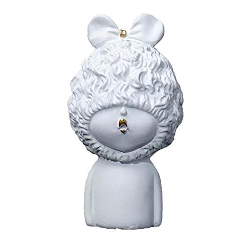 Naisicatar Creative Resin Girl Sculpture Ornamentos para el hogar Sala de Estar Gabinete de Vino Figurines Crafts Día de San Valentín Regalo Decoración de Escritorio Decoración