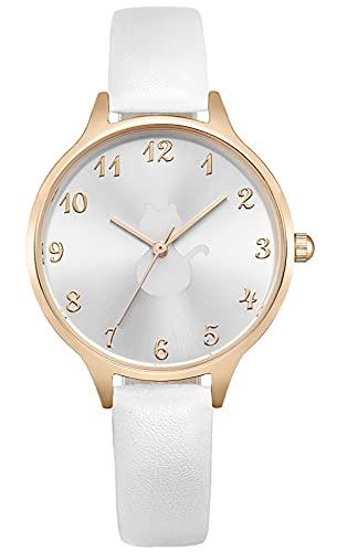 KDM Damen Analog Quarz Uhr mit Leder Armband,Klassische Freizeit Damenuhr,wasserdichte Analoge Quarzuhr für Damen Mädchen