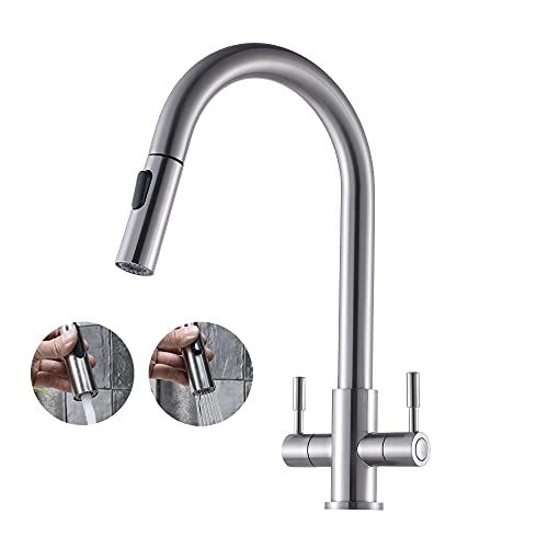 GLANZHAUS Contemporary Professional Dual Lever Kitchen Taps,Kitchen Sink Mixer Tap Single Hole Solid Brass Kitchen Tap with Pull Out Spray and 360 Rotation Spout,Brushed Nickel Bar Faucet