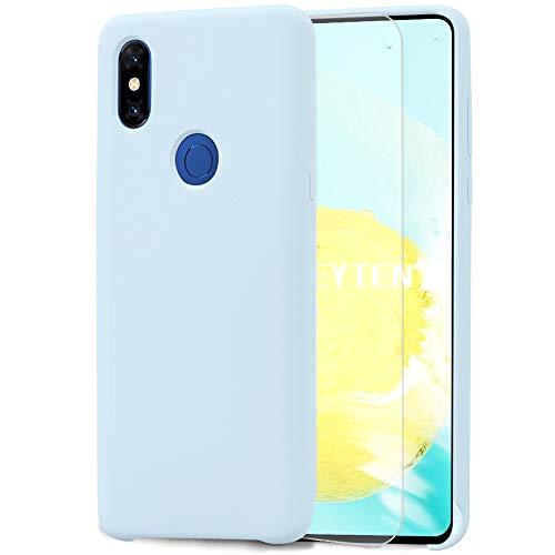Feyten Funda para Xiaomi Mi Mix 3 [Cristal Vidrio Templado],Slim Líquido de Silicona Gel Carcasa Anti-Rasguño Protectora Caso (Azul Claro)