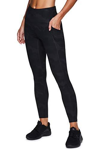 RBX Active Women's Squat Proof Opaque Camo Print Full Length Running Yoga Legging with Pockets Camo Black XL