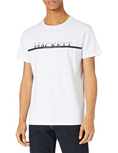 Hackett London Hackett Chest Stripe Camiseta, 800 Blanco, M para Hombre